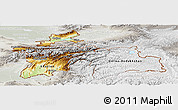 Physical Panoramic Map of Tajikistan, lighten, semi-desaturated