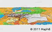 Physical Panoramic Map of Tajikistan, political outside