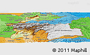 Physical Panoramic Map of Tajikistan, political shades outside