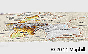 Physical Panoramic Map of Tajikistan, shaded relief outside