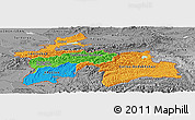 Political Panoramic Map of Tajikistan, desaturated