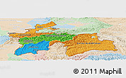 Political Panoramic Map of Tajikistan, lighten