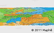 Political Panoramic Map of Tajikistan, political shades outside