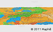 Political Panoramic Map of Tajikistan