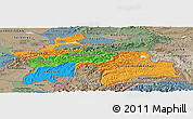 Political Panoramic Map of Tajikistan, semi-desaturated