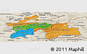 Political Panoramic Map of Tajikistan, shaded relief outside