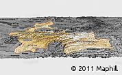 Satellite Panoramic Map of Tajikistan, darken, desaturated