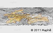 Satellite Panoramic Map of Tajikistan, desaturated
