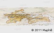 Satellite Panoramic Map of Tajikistan, lighten