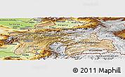 Satellite Panoramic Map of Tajikistan, physical outside
