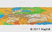 Satellite Panoramic Map of Tajikistan, political outside