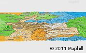 Satellite Panoramic Map of Tajikistan, political shades outside