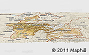 Satellite Panoramic Map of Tajikistan, shaded relief outside