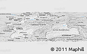 Silver Style Panoramic Map of Tajikistan