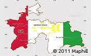 Flag Simple Map of Tajikistan, flag rotated