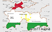 Flag Simple Map of Tajikistan, single color outside, borders and labels
