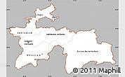 Gray Simple Map of Tajikistan, cropped outside