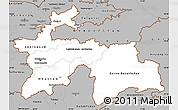Gray Simple Map of Tajikistan