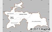 Gray Simple Map of Tajikistan, single color outside