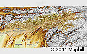 Satellite 3D Map of Tadzhikistan Territories, physical outside