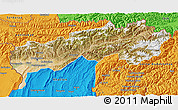 Satellite 3D Map of Tadzhikistan Territories, political outside