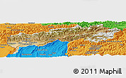 Satellite Panoramic Map of Tadzhikistan Territories, political outside