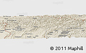 Shaded Relief Panoramic Map of Tadzhikistan Territories