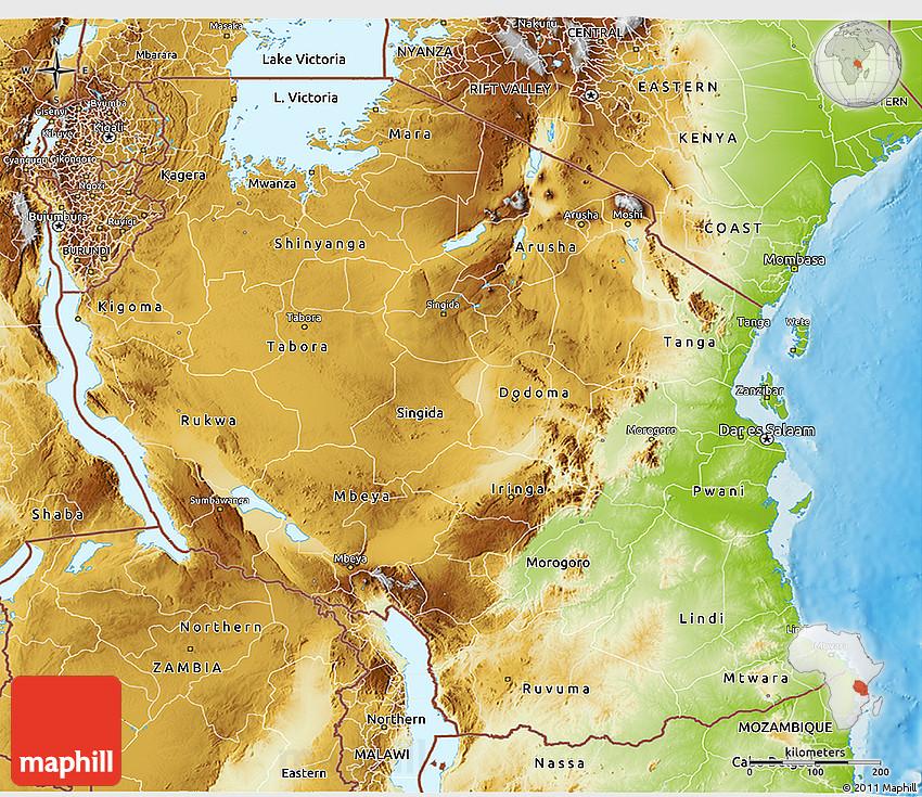 Physical D Map Of Tanzania - Map of tanzania