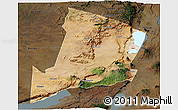 Satellite Panoramic Map of Ngorongoro, darken