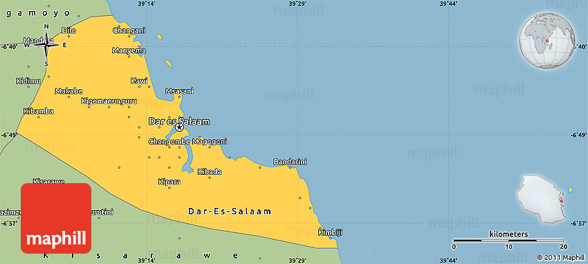 Savanna Style Simple Map of DarEsSalaam
