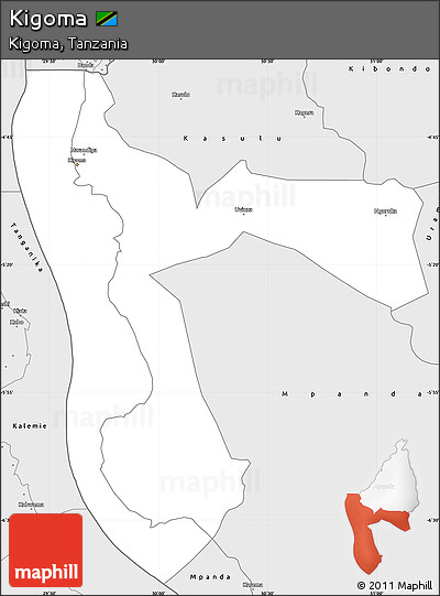 Silver Style Simple Map of Kigoma