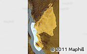 Physical Map of Kigoma, darken
