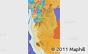 Physical Map of Kigoma, political shades outside