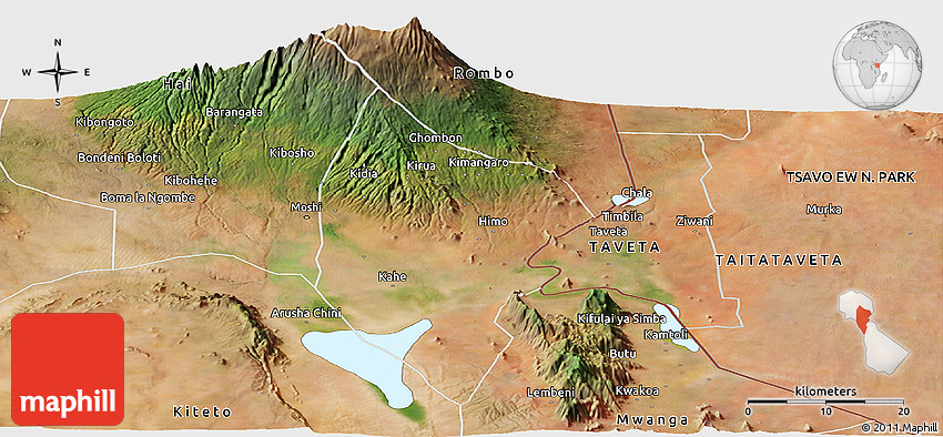 Satellite Panoramic Map of Moshi