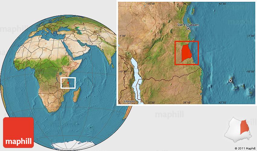 Satellite Location Map Of Kilwa