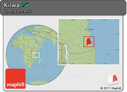 Free Savanna Style Location Map Of Kilwa