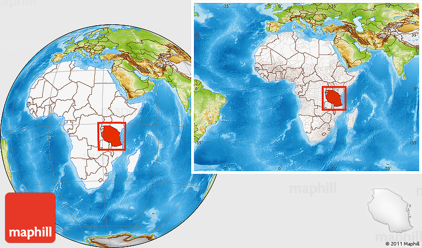 Physical Location Map Of Tanzania Highlighted Continent Within - Where is tanzania located