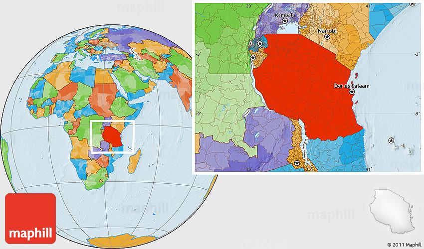 Political Location Map of Tanzania