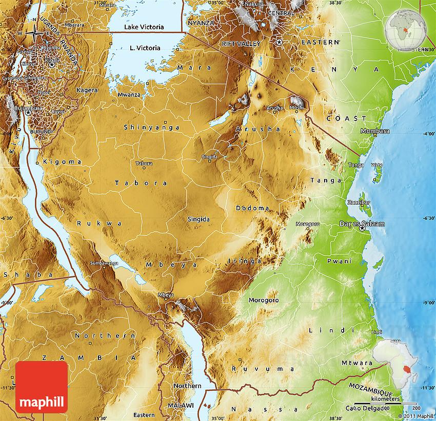 Physical Map Of Tanzania - Map of tanzania