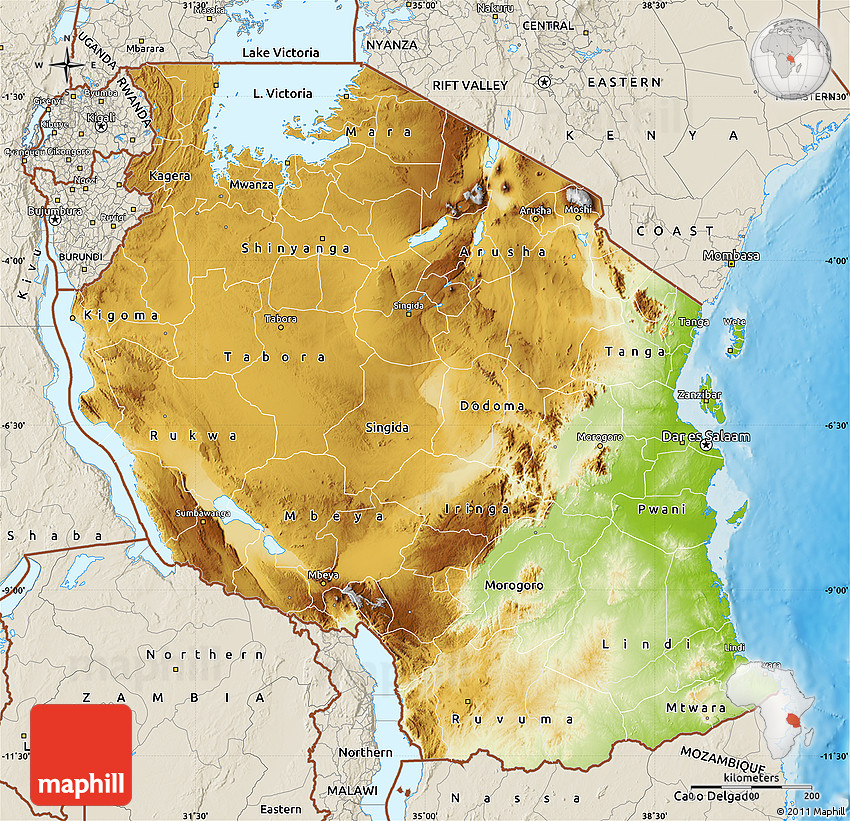 Physical Map of Tanzania shaded relief outside