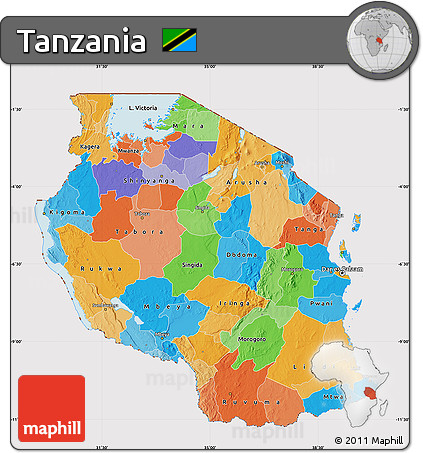Tanzania Political Map.Free Political Map Of Tanzania Cropped Outside
