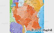 Political Shades Map of Tanzania