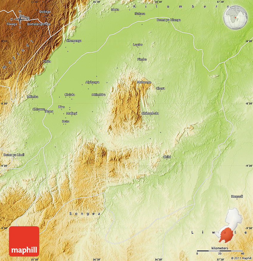 Physical Map of Ulanga