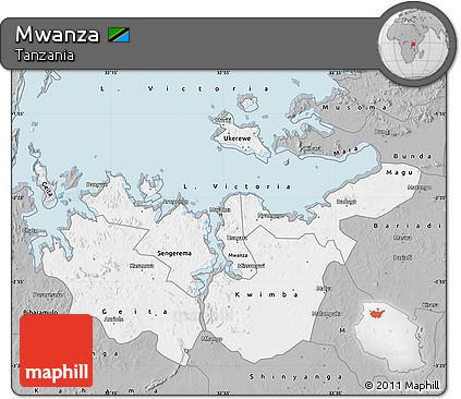 Free Gray Map of Mwanza