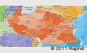 Political Shades Panoramic Map of Tanzania