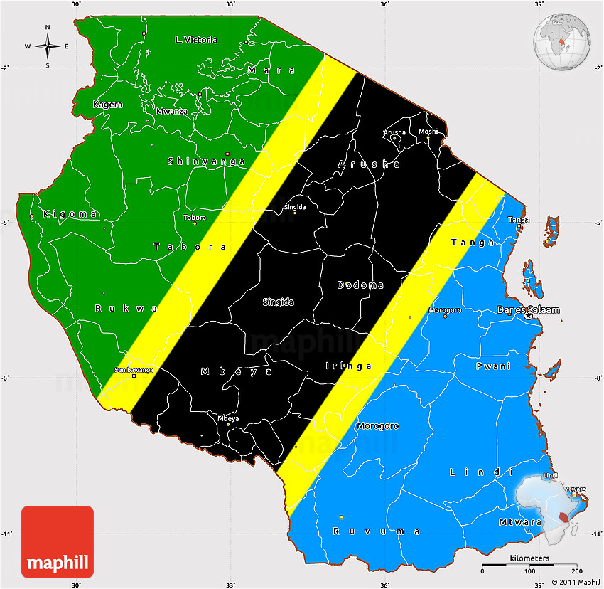 Simple Site Map: Flag Simple Map Of Tanzania, Flag Aligned To The Middle