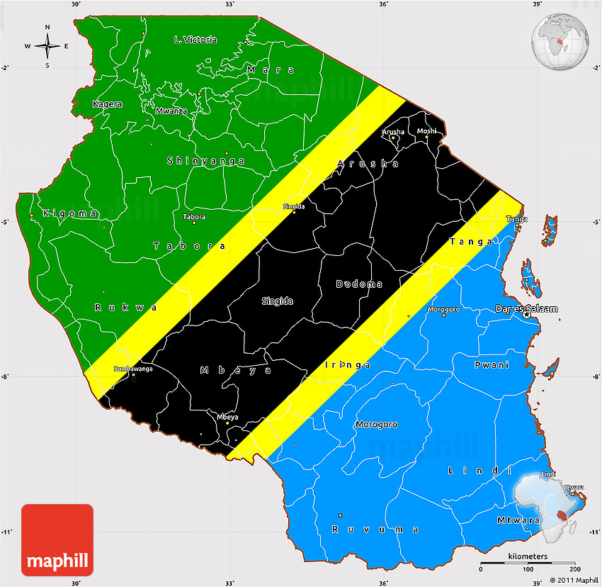 Flag Simple Map of Tanzania