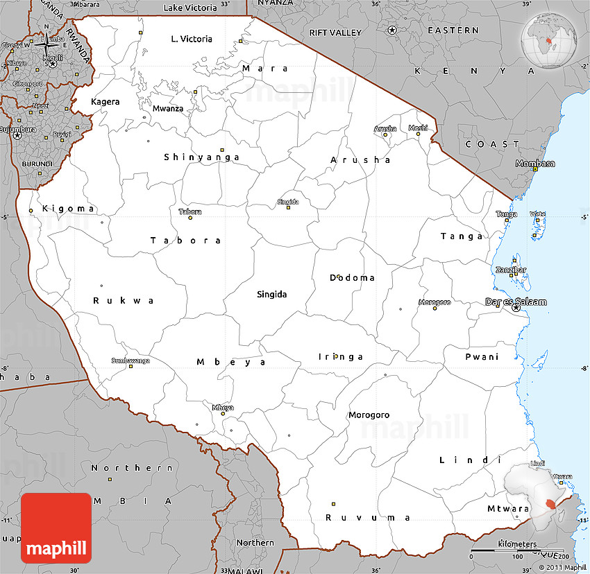 Gray Simple Map Of Tanzania - Map of tanzania