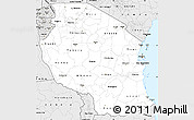 Silver Style Simple Map of Tanzania