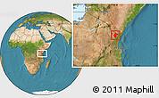 Satellite Location Map of Lushoto
